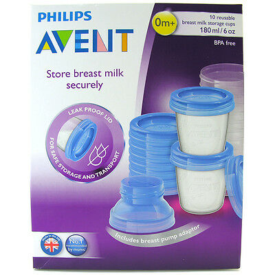 Avent Breast Milk Storage Cups 180ml 10 Cup & Lid Pack Adapter for Breast Pump