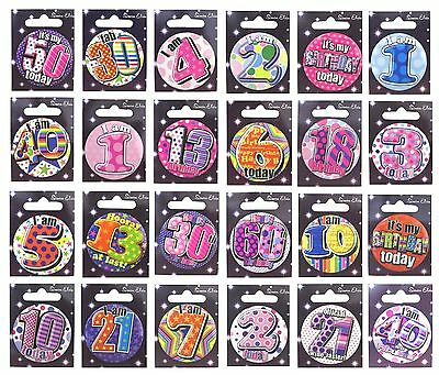 Children's Small Birthday BADGES (Choice of Ages 1-16)(Party/Card/Gift/Boy/Girl)