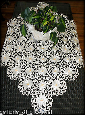 "IVORY PEDALS Lace Doily  43"" SQ Table Topper Doily Daisy  Flower Daisies"