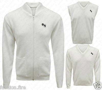 Mens Golf Bowling White Jumper Tank Top &Cardigans Zipper With Bowls Logo Sports