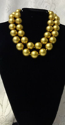Vintage Mid Century Retro Gold Tone Chunky Pearl Runway Fashion Necklace