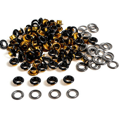 Black Metal Eyelets 4/5/6mm 100 Set w/Washer Grommets F Scrapbooking Card Making