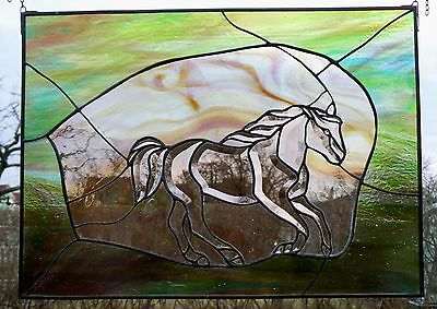 """Leaded Glass Window Picture """"Galloping Horse"""" Art In Tiffany / Copper & Zinc"""