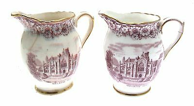 Pair William Hudson Sutherland Historical Britain Mulberry 2542 3 Inch Jugs a/f