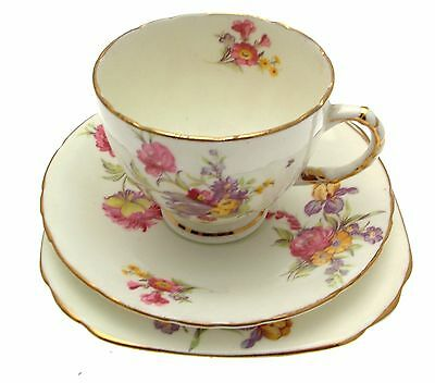 Sutherland Trio Pattern No 7128 Floral on Cream China
