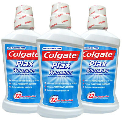 3x Colgate Plax Whitening Antibacterial Daily Mouthwash 500ml Alcohol Free