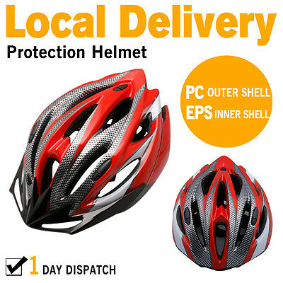 AU Local Unisex Adult Bike Bicycle Safety Helmet Road & MTB Cycling Visor RED AU