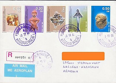 Make Offer Very Rare Kosovo 2001 Register Cover To Nagorno Karabakh Armenia R374