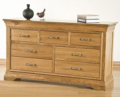 Lourdes solid oak french furniture 3 over 4 bedroom chest of drawers