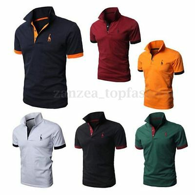 2016 Mens Slim Fit Stylish POLO Shirt Short/Long Sleeve Casual T-shirts Tee Tops