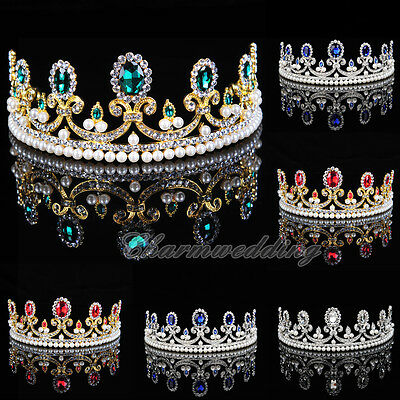 Colours Diamante Tiara Bridal Wedding Party Pageant Crown Crystal Hair Jewelry