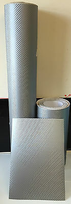 Silver Bubble Free Textured Carbon Fibre Sticky Back Self Adhesive Wrap Vinyl