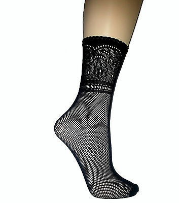 Fishnet Ankle Highs With Patterned Top - Pop Socks