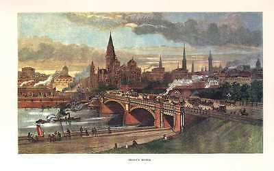 Historic view of Princes Bridge, Melbourne. Colonial Australia scene.