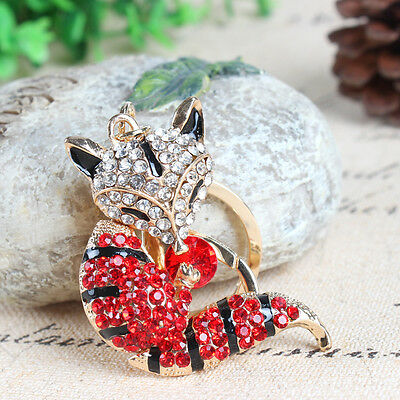 Fox Long Tail Red Cute Pendent Charm Swarovski Crystal Purse Bag Key Chain Gift