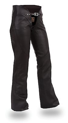 Womens Black Soft Milled Leather Low Rise Hip Hugging Motorcycle Biker Chaps