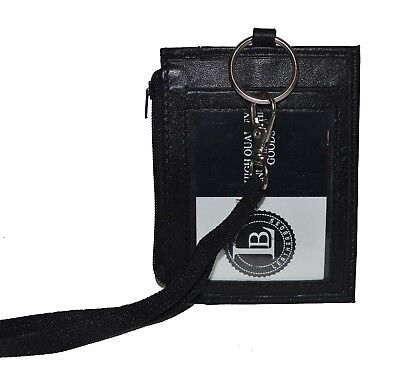 ID Holder With Neck Strap Genuine Leather New Black by Leatherboss