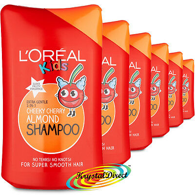 6x L'Oreal Loreal Kids Children Cheeky Cherry Almond Shampoo 250ml
