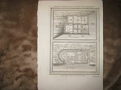 Antique 1751 Palace Mogol Munger India Ganges River Bellin Copperplate Map Rare