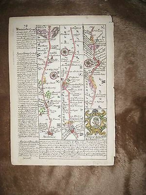Antique 1775 Andover Warminster Annesbury London England Copperplate Road Map Nr