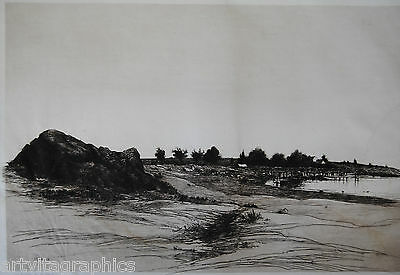 Stephen Parrish Old Farm near the Sea Cap Ann Radierung um 1880 signiert iDr USA