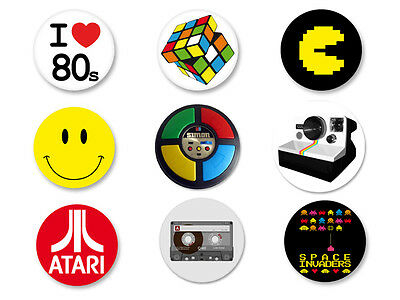 "Lot Pack Badge Button Ø25mm Année 80 Retro Objet Culte  I heart the ""80s"""