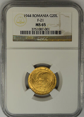1944 Romania, 20 Lei Gold. NGC MS 65. F-21. 3 Kings