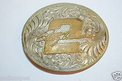 Vintage NASCAR Rusty Wallace #2 Western Silver Plated High End Belt Buckle Rare