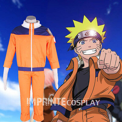 Naruto Uzumaki Naruto Cosplay Costume Blue Orange Full Set FREE P&P
