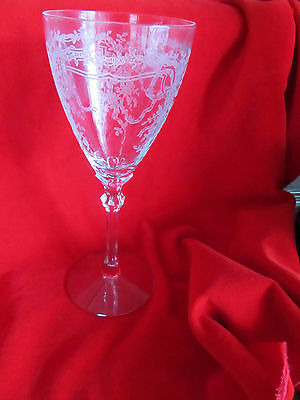 Classic Fostoria JUNE Crystal Etched Clear  Water Goblet s 10oz
