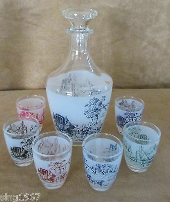 Vintage Decanter shot glass set 7 pc Mid Century Made in France scenery ship