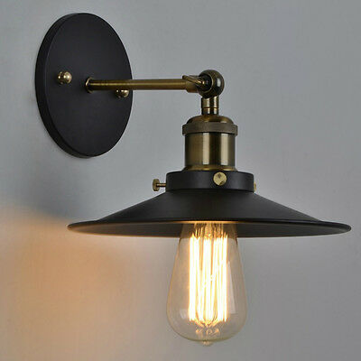 Retro Industrial Vintage Style Adjustable Wall Mount Lamp Light 23CM Metal Shade