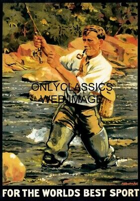 1930's FLY FISHING ADVERTISING TRAVEL GRAPHIC ART POSTER VINTAGE OUTDOOR SPORTS
