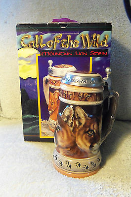 ANHEUSER BUSCH CALL OF THE WILD MOUNTAIN LION STEIN 1998 NUMBERED NIB