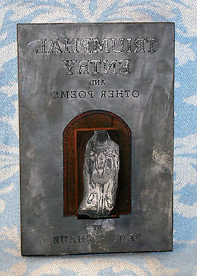 Vintage Antique Actual Printing Plate From The Cover Of Religious Poems Book