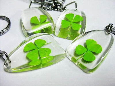 12pc wholesale RealFour Leaf Clover Patrick's Day gift fine key-chains CSS001
