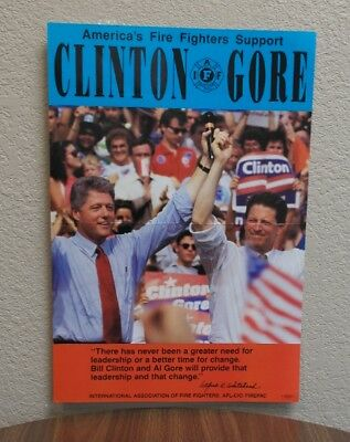Fire Fighters Union Clinton Gore Support Poster
