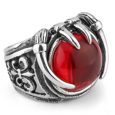 MENDINO Men's 316L Stainless Steel Ring Red CZ Knight Fleur de lis Dragon Claw