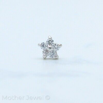 Real Genuine Solid 14K White Gold Simulated Diamond Flower Bone Nose Stud