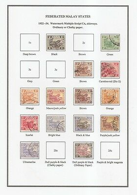 Federated Malay States-TIGERS 1900-1934 - SHADES - Album pages TO PRINT-PDF