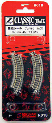 Rokuhan R018 R70mm 45º Curved Track 4 pcs. (1/220 Z Scale)