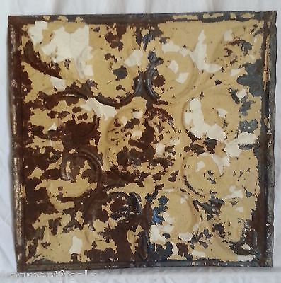 "12"" x 12"" Antique Tin Ceiling Tile *SEE OUR SALVAGE VIDEOS* Tan & Cream SG56"