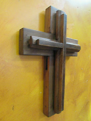 Trinity Rustic Old Door Wood Cross #3 -Mexican Folk Art-11x17-Antique-Primitive