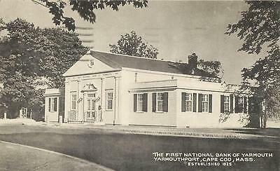 YARMOUTHPORT, Cape Cod, MA   FIRST NATIONAL BANK of YARMOUTH 1956   Postcard