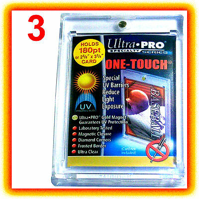 3 Ultra Pro ONE TOUCH MAGNETIC 180pt UV Card Holder Display Case Two Piece 82333