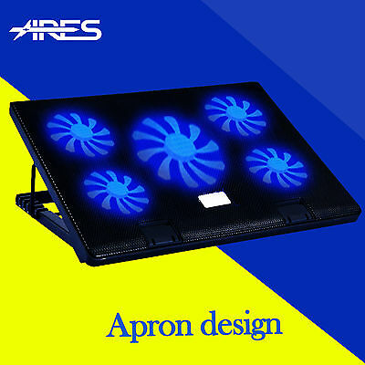 """5 Fans 2 USB Port Notebook Laptop Cooling Pads Cooler with Speed Control For 17"""""""