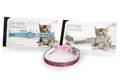 Pet Cat Kitten Collar Glitter Design Heart Tag Pink Blue Or Silver 35cm Long