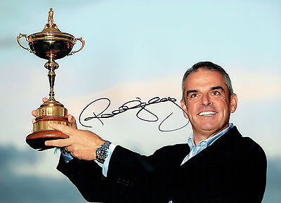 Paul McGINLEY Signed Autograph 16x12 Photo Ryder Cup withTrophy GOLF AFTAL COA