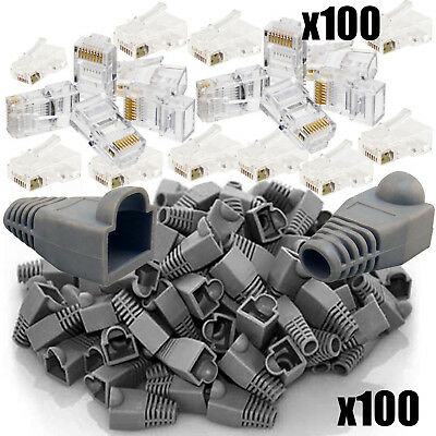 100x RJ45 Network Ethernet Cat5e Cable End Crimp Connectors + 100 Snagless Boots