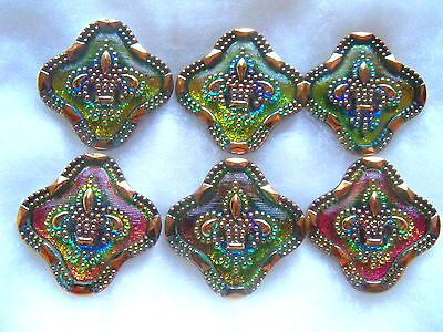 "CZECH GLASS BUTTONS (4 pcs) 1""- (27mm) FLEUR DE LYS /24K GOLD  US - L 016"